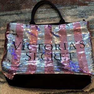 Large Victoria Secret Sequin Pink Black Travel Bag